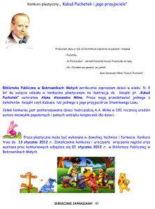 Konkurs plastyczny - Kubuś Puchatek i jego przyjaciele